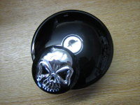BLACK Locking Screw in Gas Cap with Skull Cover Fits Harley Davidson 82-95
