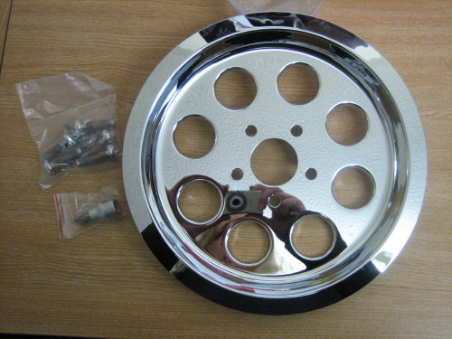 Chrome Outer Pulley Cover 8 Hole with Hardware and 3/8