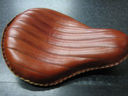 Brown Leather Solo Seat Wide 'La Rosa' Design