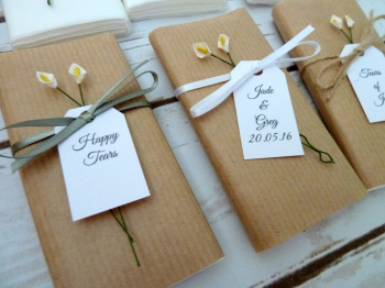 Calla lily/Kraft paper personalised wedding tissues
