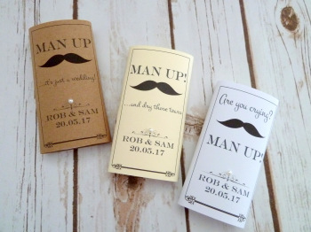 Man up! Personalised pocket tissues