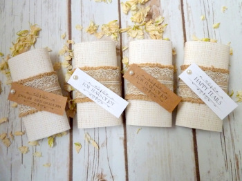 Hessian and lace personalised pocket tissues
