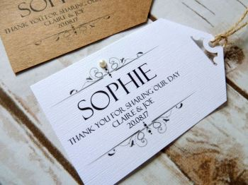 Personalised individual name tag/placecard with ribbon or twine