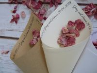 Personalised confetti cones with wording around the top of the cone