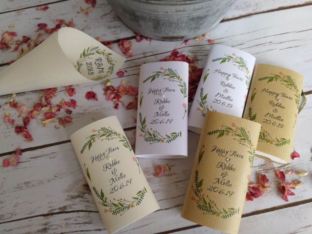 Floral personalised wedding tissues