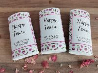 Green and pink flower personalised wedding pocket tissues.