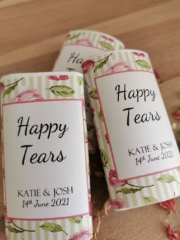Green/pink floral stripe personalised wedding pocket tissues.