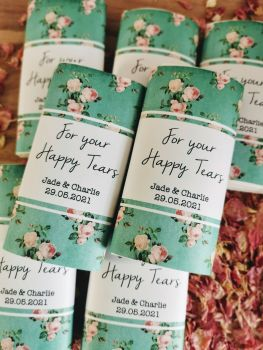 Green floral personalised wedding pocket tissues.