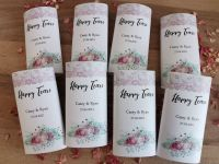 Floral personalised wedding pocket tissues.