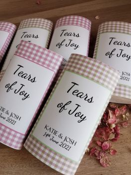 Green/pink check personalised wedding pocket tissues.
