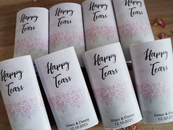 Slate effect and gem Personalised wedding pocket tissues.