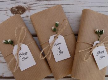 Rosebud/Kraft paper personalised wedding tissues