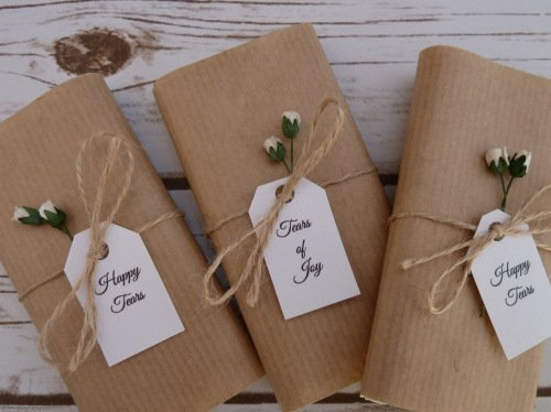 Rosebud/Kraft paper personalised wedding tissues
