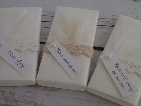 feather and lace personalised tissues