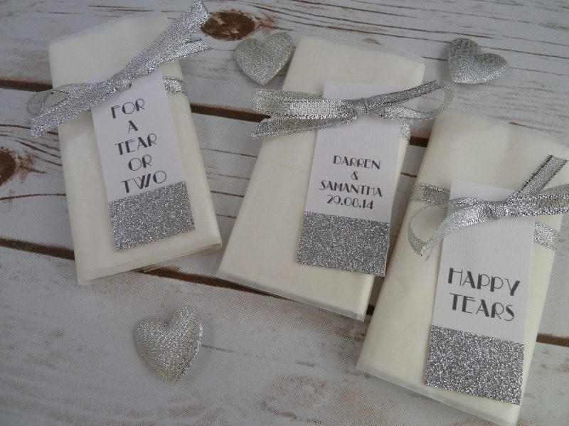 glitter personalised pocket tissues