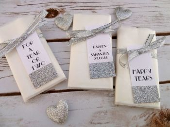 Glitter sparkle personalised pocket tissues