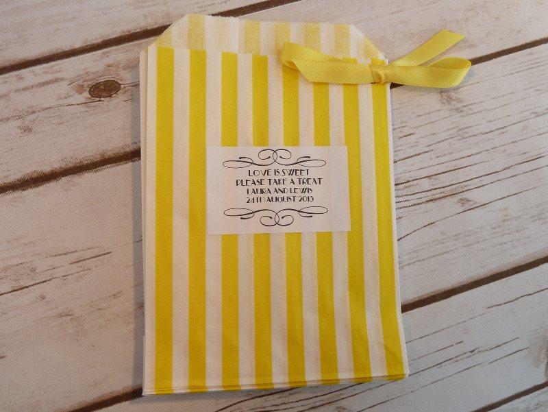 Yellow striped sweet bag