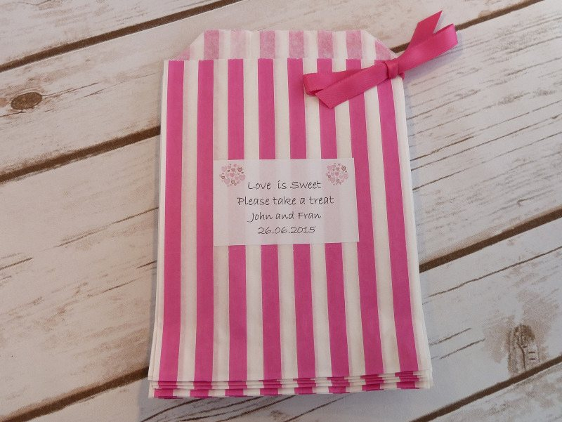 pink striped sweet bag
