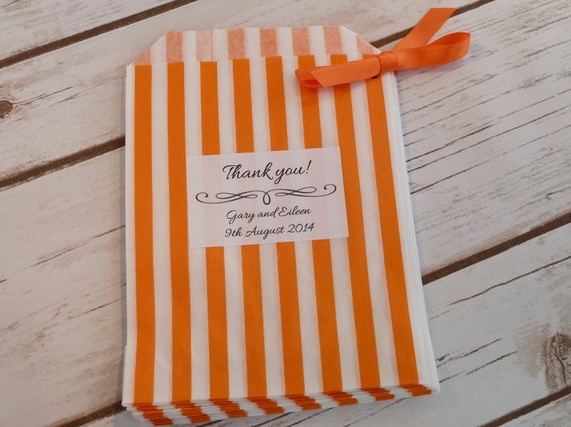 Orange striped sweet bag