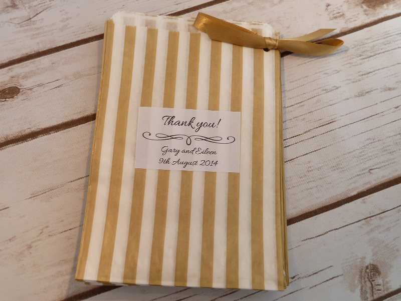 Gold striped sweet bags