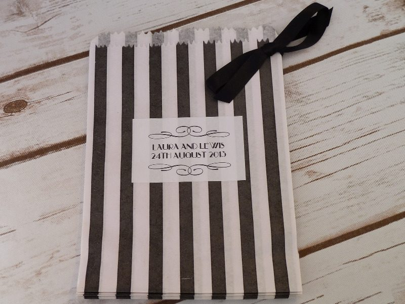Black striped sweet bag