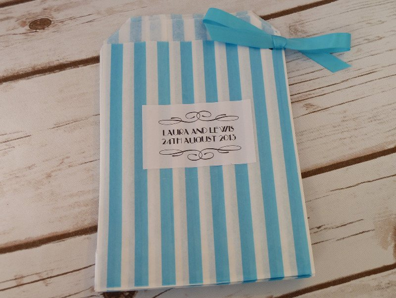 Turquoise striped sweet bag