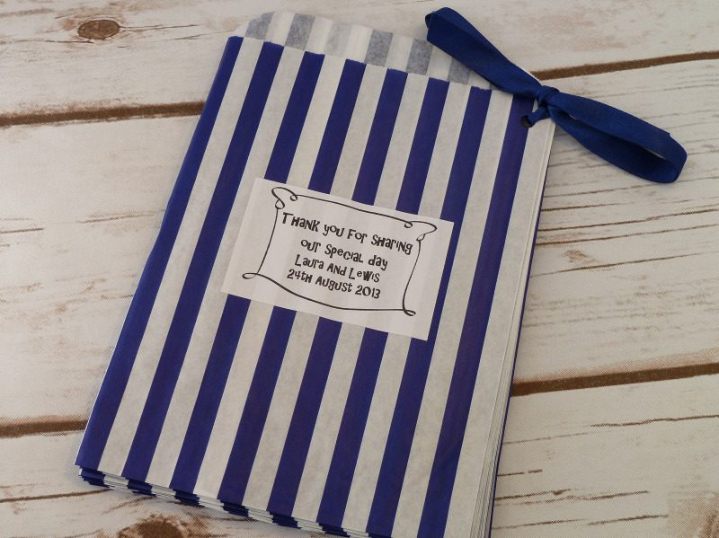 Blue striped sweet bag