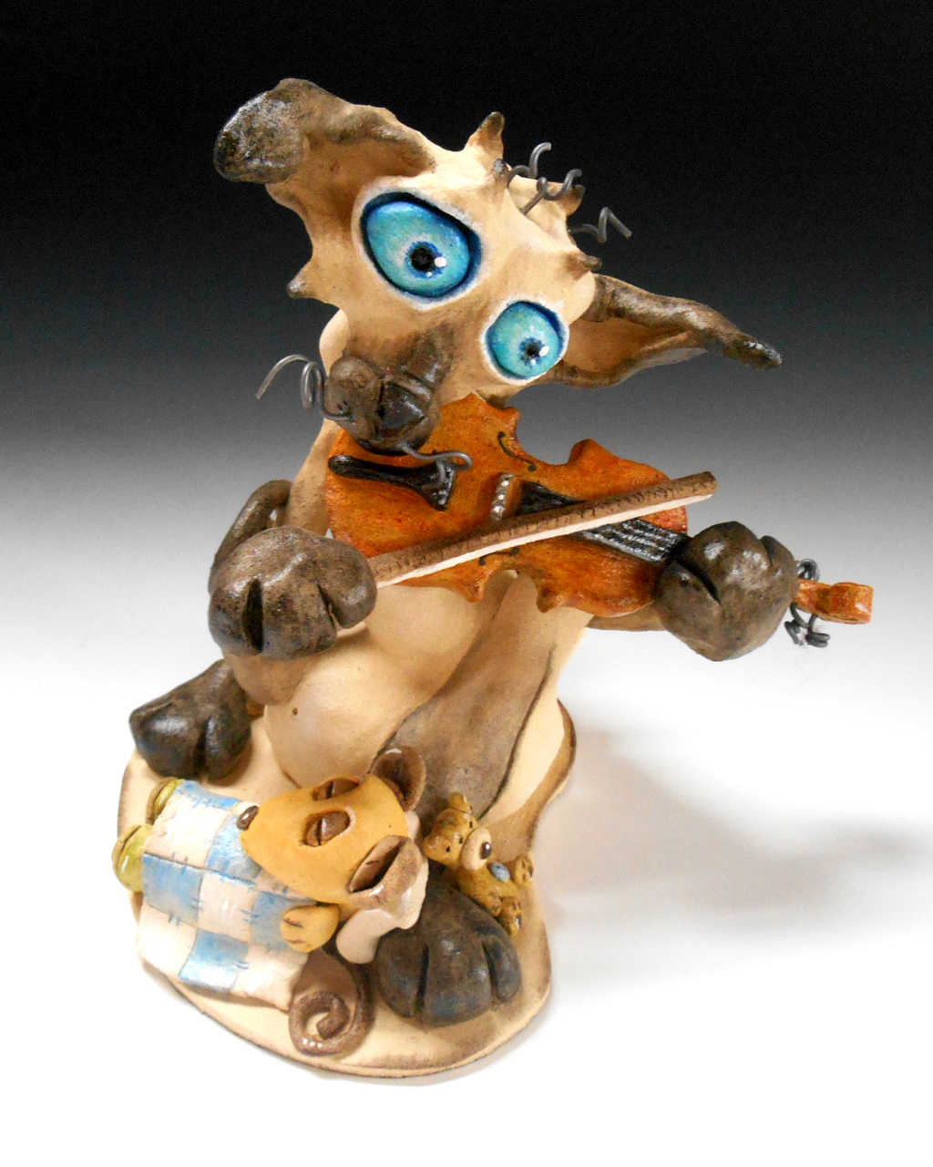 Cat and the fiddle sculpture ceramic pottery