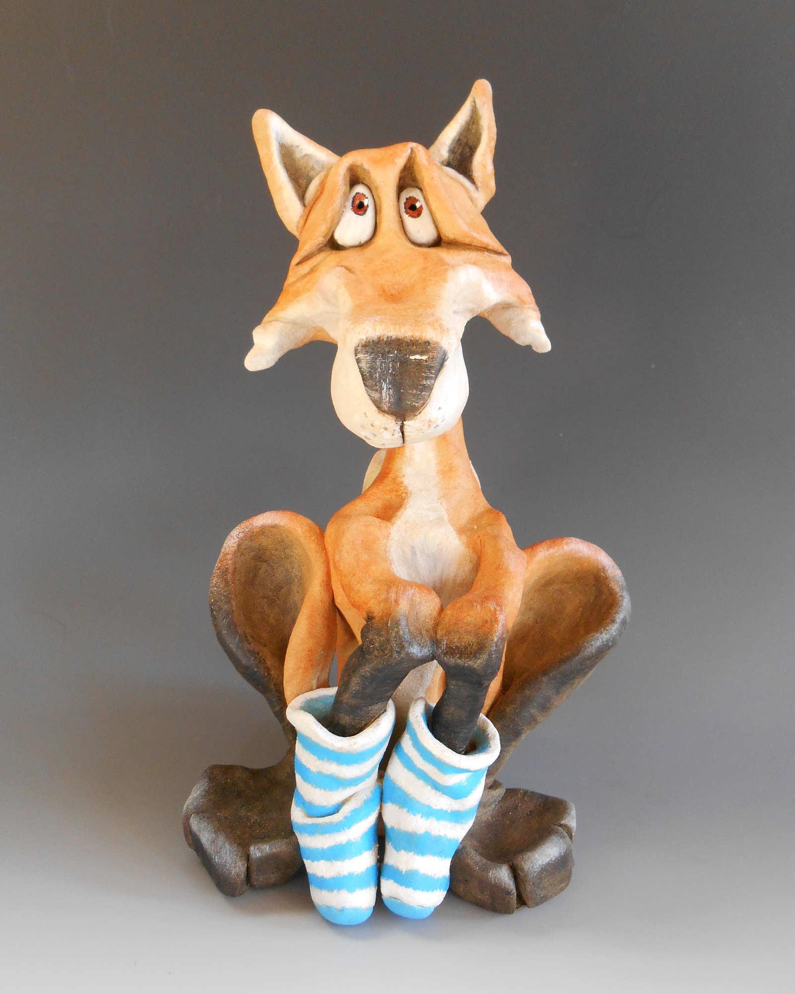 fox in socks sculpture ceramic stoneware