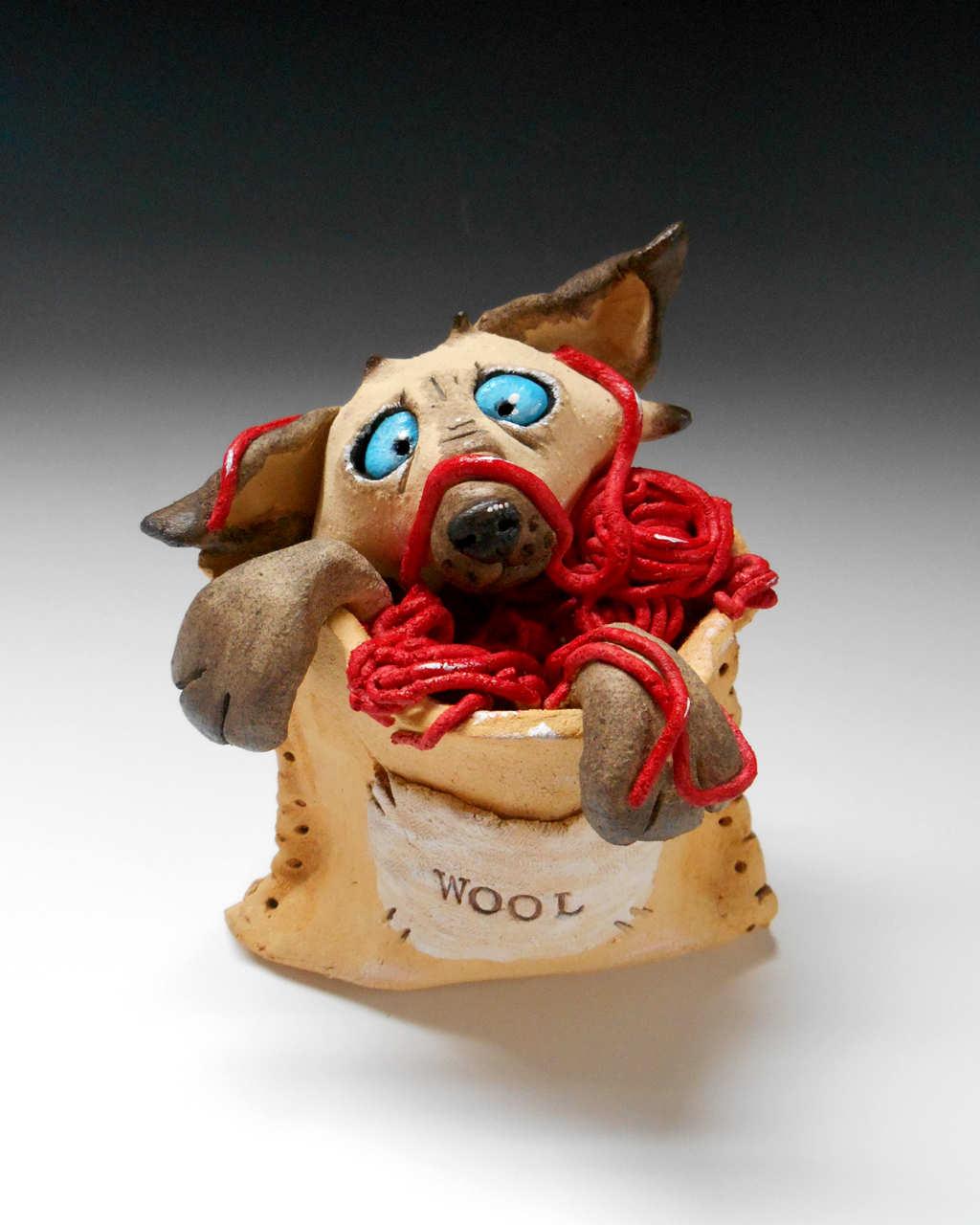 Cat whimsical sculpture ceramic stoneware