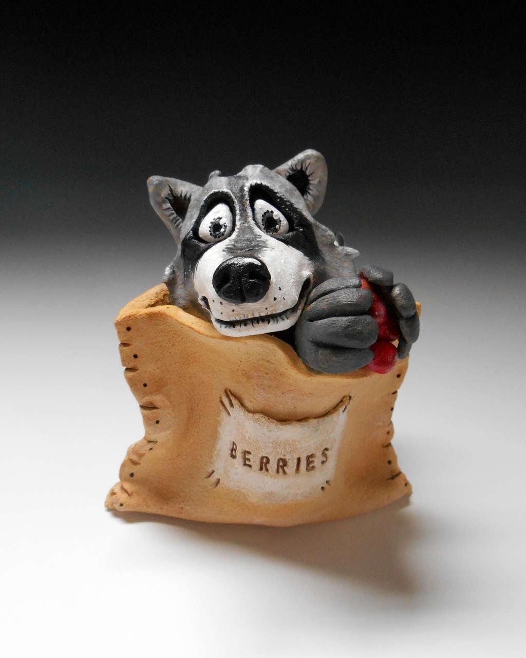 racoon  sculpture ceramic stoneware