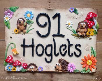 House Sign Ceramic - Hedgehogs Design