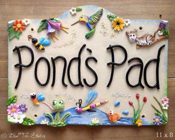 House Sign Ceramic - Garden Pond or Lake design
