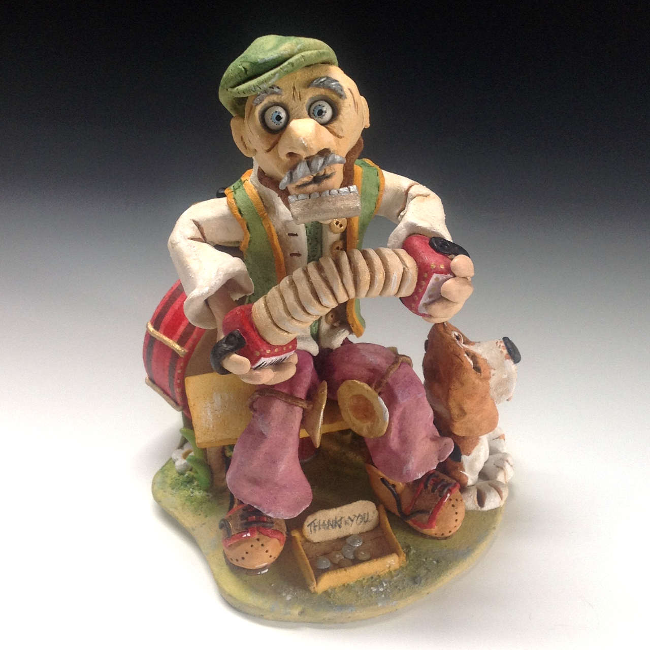 One Man Band Sculpture Ceramic Pottery