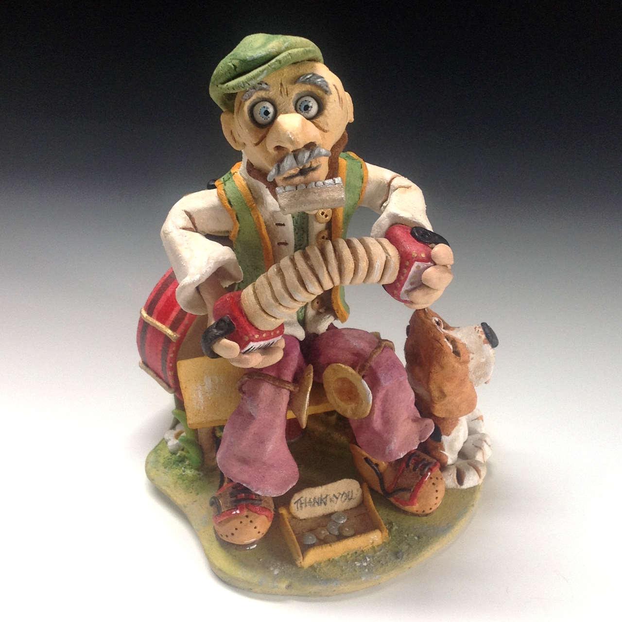 one man band sculpture ceramic stoneware