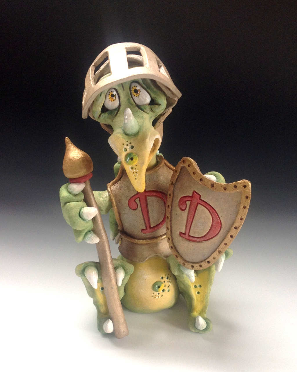 Dragon Knight Sculpture Ceramic Pottery