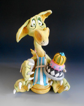 Puff Pastry Dragon Chef - Ceramic Sculpture