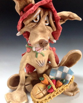 Red Riding Hood Wolf - Ceramic Sculpture