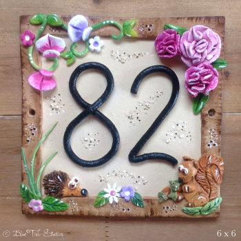 House Address Number, Pretty Peonies design