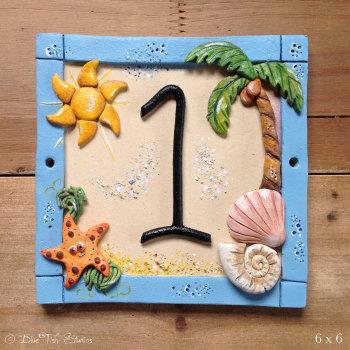 Ceramic House Address Number, Beach Design