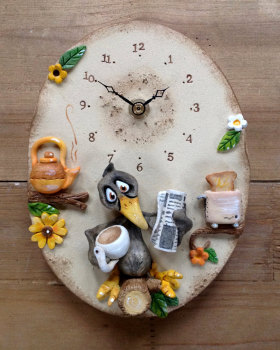 Ceramic Wall Clock - Morning Blackbird!
