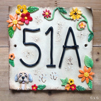 House Address Number, flowers and pet design