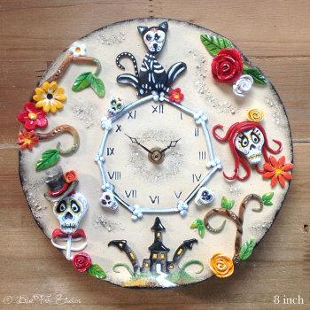 Ceramic Wall Clock - Day of the Dead Design