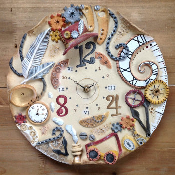 Ceramic Wall Clock - Steampunk Design
