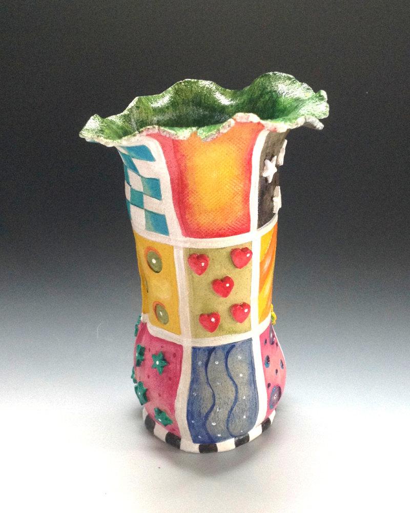 Flower Vase Ceramic - Whimsical Patterns Design