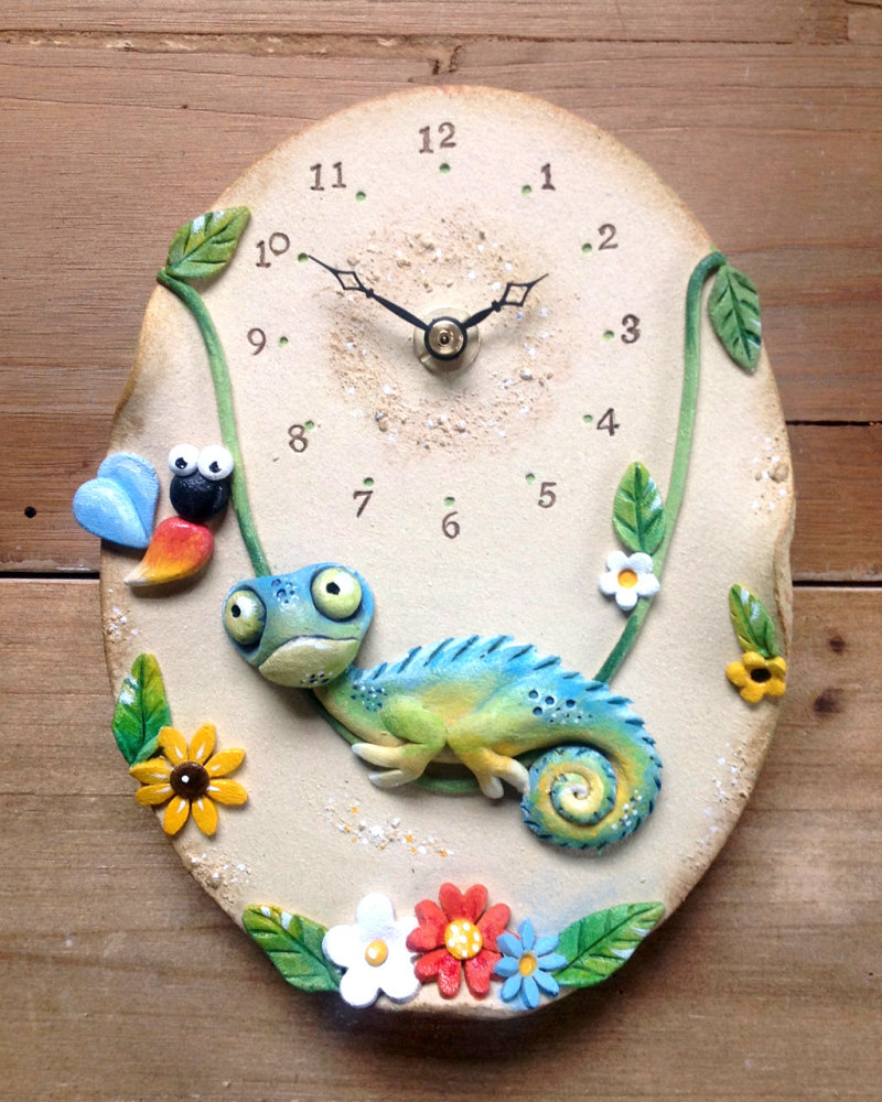 Ceramic Wall Clock - Chameleon