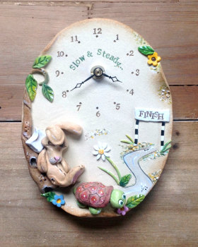 Ceramic Wall Clock - Hare and the Tortoise