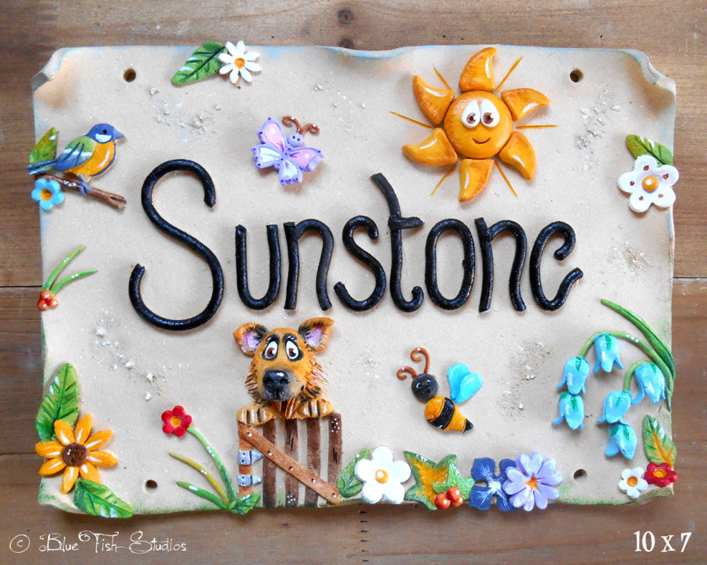 House sign address number and name sign ceramic sunny for House sign designs