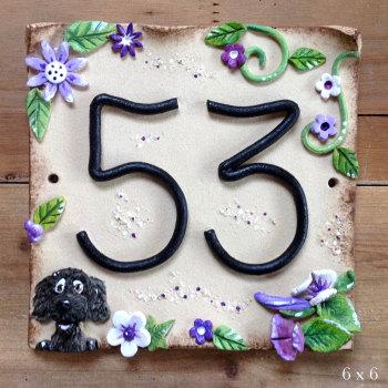 House Address Number, purple flowers