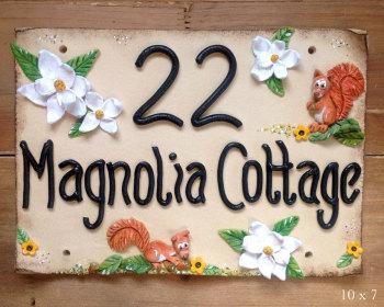 House Sign Ceramic - Magnolia Flowers Design